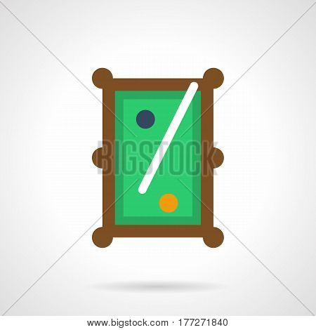 A top view of pool table with one cue and two blue and yellow balls. Billiard entertainment and leisure. Flat color style vector icon.