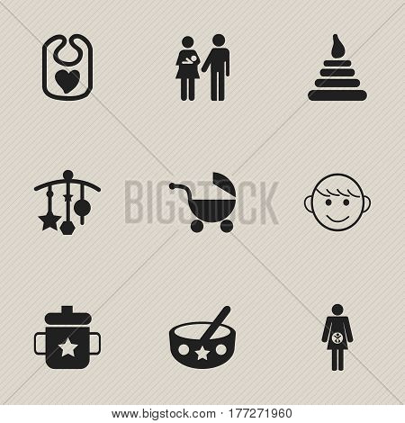 Set Of 9 Editable Child Icons. Includes Symbols Such As Goplet, Lineage, Adorn And More. Can Be Used For Web, Mobile, UI And Infographic Design.