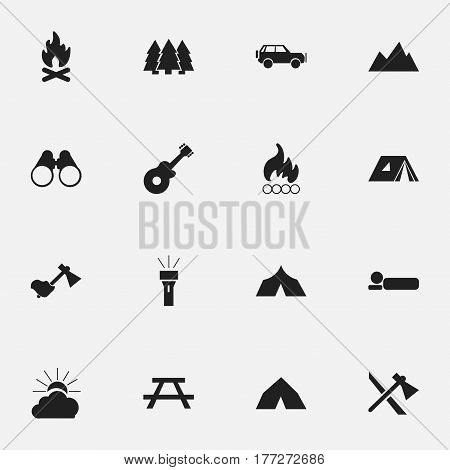 Set Of 16 Editable Travel Icons. Includes Symbols Such As Shelter, Blaze, Fever And More. Can Be Used For Web, Mobile, UI And Infographic Design.