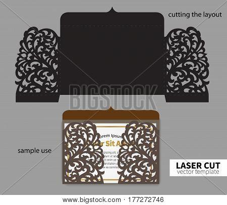 Digital vector file for laser cutting. Swirly ornate wedding invitation envelope.