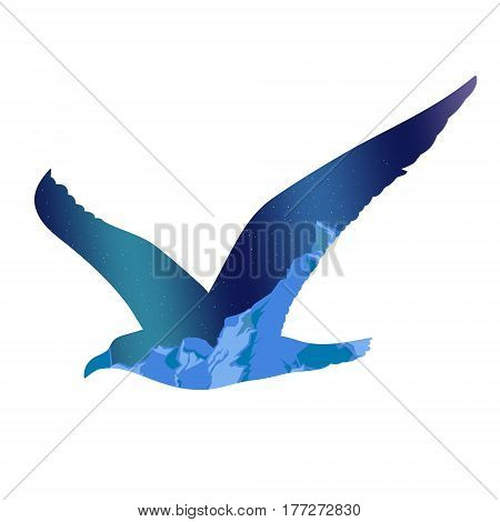 Flying seagull silhouette concept with arctic night iceberg landscape inside isolated vector illustration