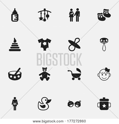 Set Of 16 Editable Kid Icons. Includes Symbols Such As Rattle, Lineage, Stroller And More. Can Be Used For Web, Mobile, UI And Infographic Design.