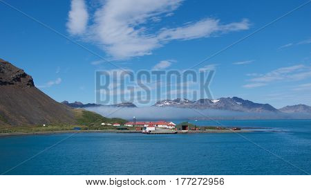 City of Grytviken on Cumberland East Bay in South Georgia, Antarctica