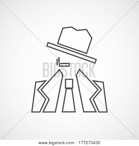 Vector flat detective icon. Isolated line icon for logo web site design app UI. Flat noir illustration for posters cards book cover flyers banner web game designs.