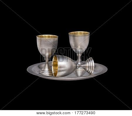 Silver Tableware On Black Background