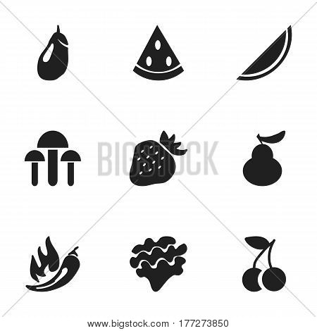Set Of 9 Editable Berry Icons. Includes Symbols Such As Paprika, Melon, Eggplant And More. Can Be Used For Web, Mobile, UI And Infographic Design.