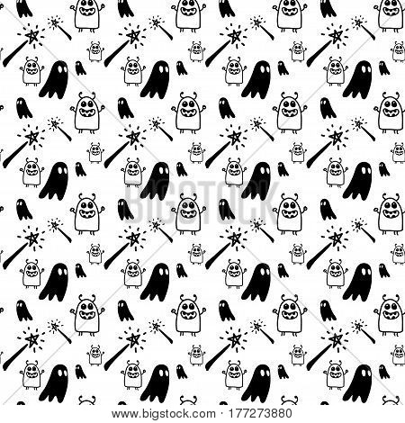 Vector hand drawn cartoon seamless pattern with magic wands monsters ghost. Fantasy magic theme. Black and white magic pattern for paper textile polygraphy game web design