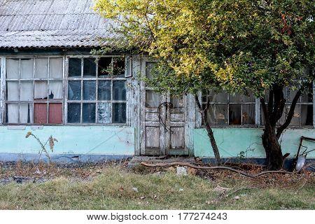 Door and window Door of a old wooden house