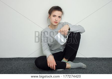 Indoor Close Up Portrait Of Charming Young Lady Of European Appearance Wearing Grey Sweatshirt, Blac