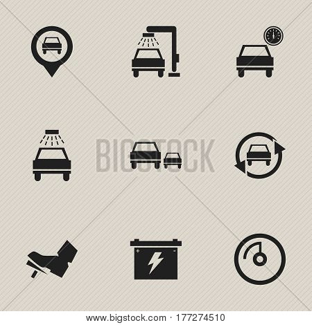 Set Of 9 Editable Vehicle Icons. Includes Symbols Such As Pointer, Vehicle Wash, Tuning Auto And More. Can Be Used For Web, Mobile, UI And Infographic Design.