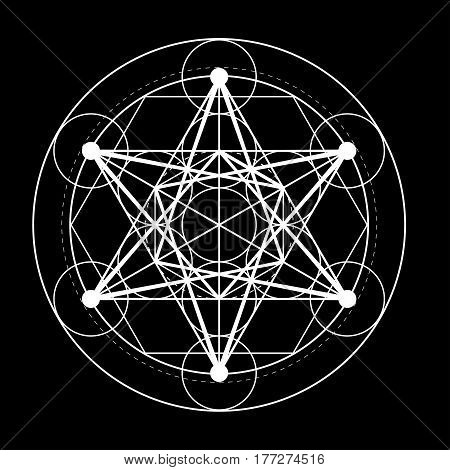 sacred geometry symbol. Metatrons cube on black background design vector illustration