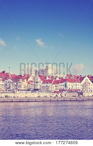 Color toned picture of Szczecin (Stettin) city waterfront Poland.