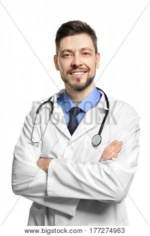 Portrait of handsome doctor on white background