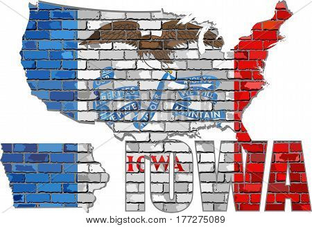 Iowa on a brick wall - Illustration