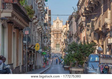 CATANIA ITALY - SEPTEMBER 13 2015: View of the Catholic church in Catania Sicily