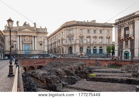 CATANIA ITALY - SEPTEMBER 13 2015: Remains of the Roman amphitheater at the Stesicoro square in Catania Italy