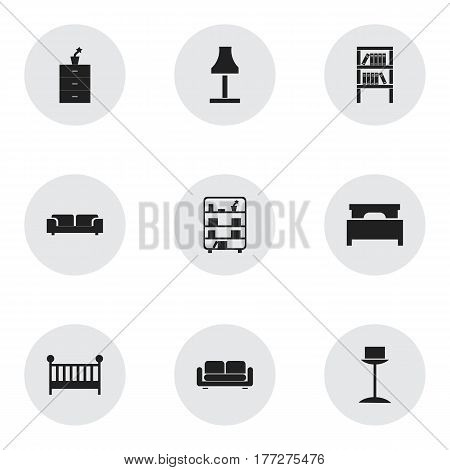 Set Of 9 Editable Interior Icons. Includes Symbols Such As Enlightenment, Child Cot, Glim And More. Can Be Used For Web, Mobile, UI And Infographic Design.