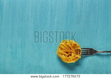 Concept Of Food, Pasta On A Blue Background