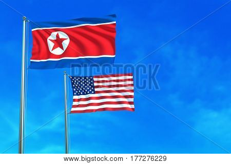 North Korea and United States (USA) flags on the blue sky background. 3D illustration