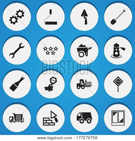 Set Of 16 Editable Construction Icons. Includes Symbols Such As Caution, Facing, Balcony And More. Can Be Used For Web, Mobile, UI And Infographic Design.