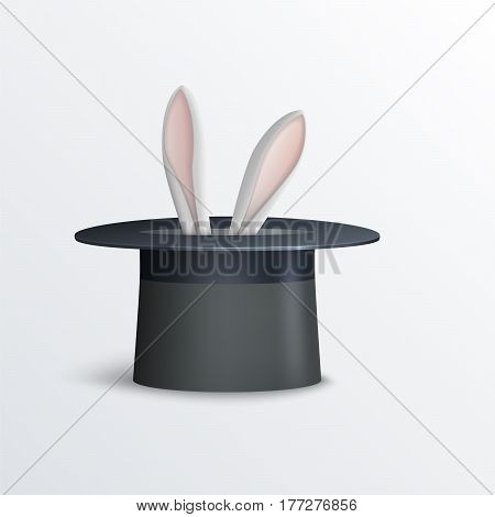 Vector illustration of rabbit in magician hat.