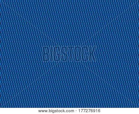 Blue textile pattern background. Cafe wall geometrical illusion tile. Seamless in all directions. Lines formed by white rectangles appear to be sloped. Isolated illustration on blue background. Vector