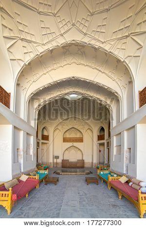 Kashan, Iran - December 9, 2015: Interior of Ameri Historical House in Kashan, Iran
