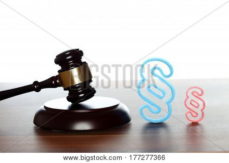 different court room symbols on desk with white background