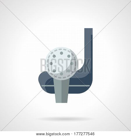 Symbol of golf skill - precision hit. Putter or club and ball. Golfing concept. Flat color style vector icon.