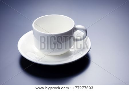 empty white Cup with saucer for coffee