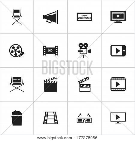 Set Of 16 Editable Movie Icons. Includes Symbols Such As Theater Agency, Shooting Seat, Movie Player And More. Can Be Used For Web, Mobile, UI And Infographic Design.
