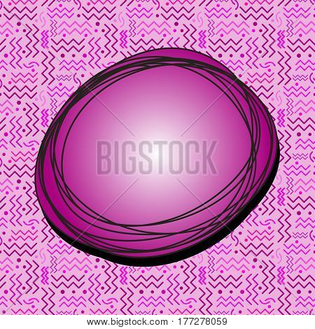 Funky Fuscia Speech Bubble with seamless Memphis style design in background.