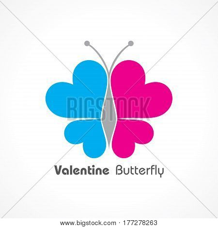 Valentine Day Greeting with butterfly stock vector