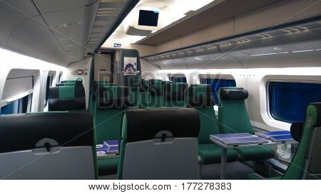 Railway wagon is empty. The train drives forward.