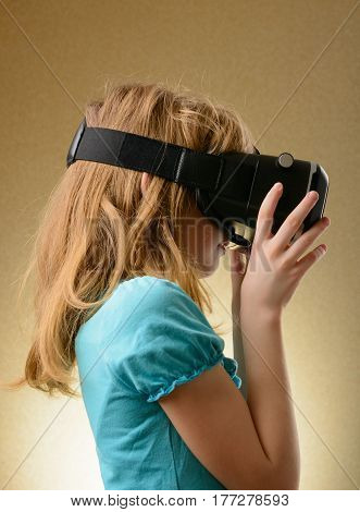 Little Girl In Virtual Goggles