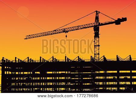 Industrial machinery and the construction crane. Cranes and skyscraper under construction city skyline at sunset sunrise Building under Construction site. Vector illustration.