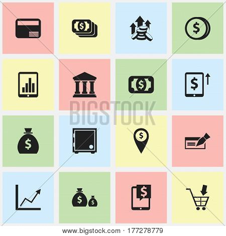 Set Of 16 Editable Finance Icons. Includes Symbols Such As Coins Raise, Shopping Pushcart, Cash Growth And More. Can Be Used For Web, Mobile, UI And Infographic Design.