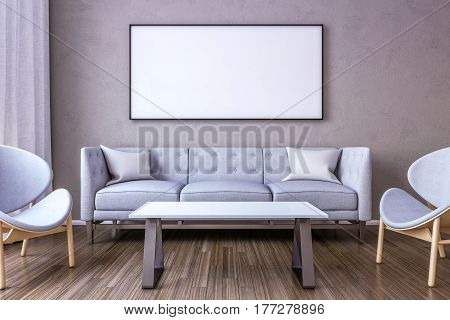 White picture frame on the wall in the living room. 3d Render just place your creation on this empty canvas space.