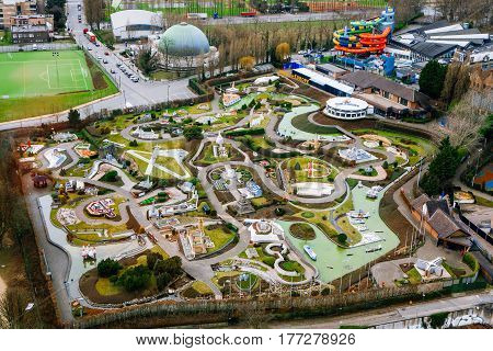 Brussels Belgium - February 25 2017: Mini-Europe theme park from above.