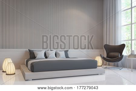 Modern white bedroom interior 3d rendering image.there are a blank white wall with Lath in vertical pattern and white floor. Decorate room with dark grey bed and Warm light floor lamp