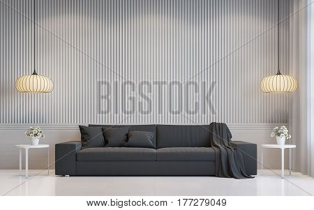 Modern white living room interior 3d rendering image.there are a blank white wall with Lath in vertical pattern and white floor. Decorate room with dark grey sofa and Warm light hanging lamp