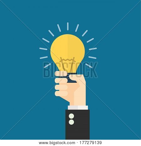 Hand holding light bulb. Business idea concept. Vector stock.