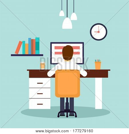 Man working on desktop computer. Businessman sitting behind the office desk. Vector Flat Illustration Stock.
