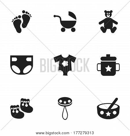 Set Of 9 Editable Kid Icons. Includes Symbols Such As Spoon, Small Dresses, Teddy And More. Can Be Used For Web, Mobile, UI And Infographic Design.