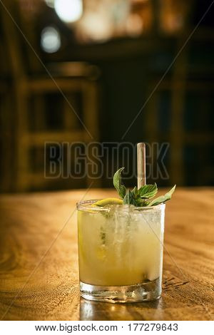 mint julep cocktail drink in modern bar