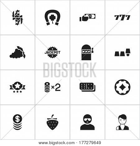 Set Of 16 Editable Business Icons. Includes Symbols Such As Wager, Strawberry, Lucky Seven And More. Can Be Used For Web, Mobile, UI And Infographic Design.