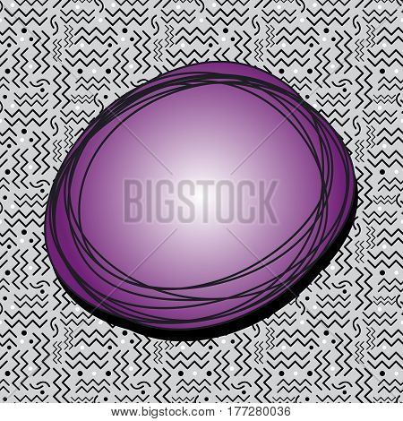 A funky purple speech bubble over a seamless Memphis style design in black white and gray.