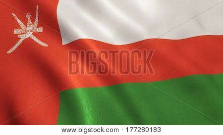 Oman national country flag background with fabric texture.