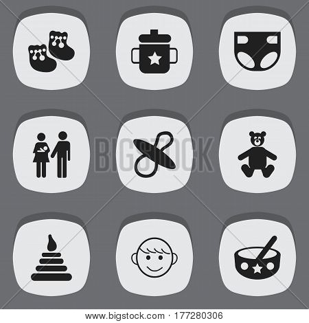Set Of 9 Editable Child Icons. Includes Symbols Such As Nappy, Teddy, Lineage And More. Can Be Used For Web, Mobile, UI And Infographic Design.