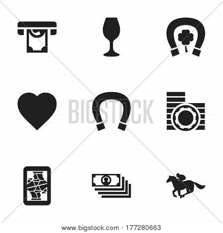 Set Of 9 Editable Game Icons. Includes Symbols Such As Cash, Jockey, Moneys And More. Can Be Used For Web, Mobile, UI And Infographic Design.